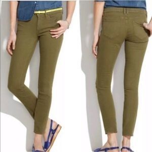 Madewell Olive Green Skinny Skinny Ankle Jeans